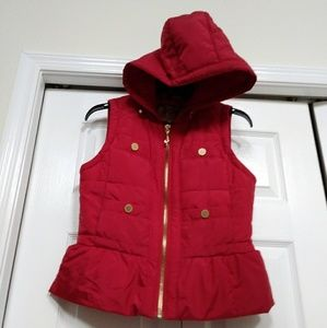 JUICY COUTURE Womens Red Puffer Hooded Vest Size S